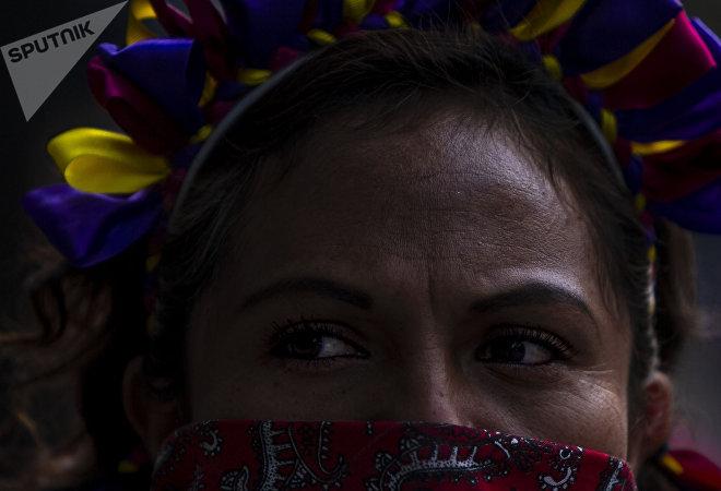 Ciudad de México. Mujer otomí en la marcha en apoyo a las huelgas en Matamoros.
