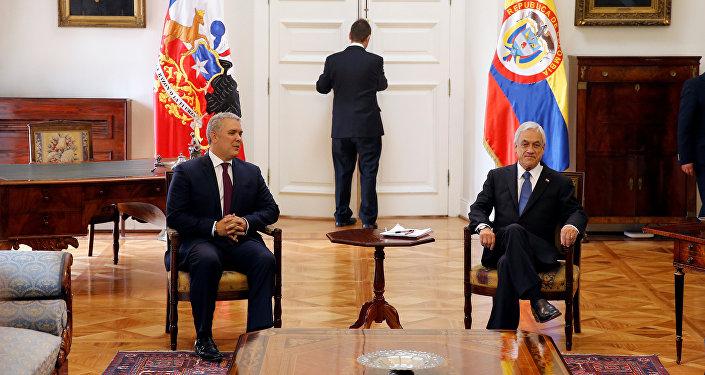 El presidente de Colombia, Iván Duque, y su homólogo chileno, Sebastián Piñera