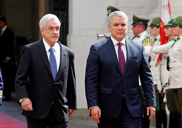 El presidente de Chile, Sebastián Piñera, y el presidente de Colombia, Iván Duque