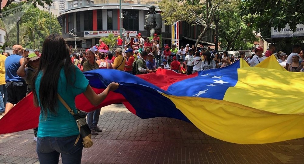 La bandera de Venezuela en la marcha chavista