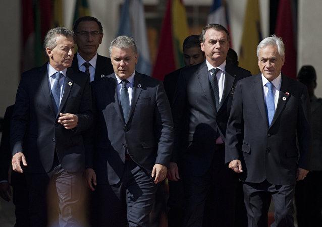 Líderes latinoamericanos durante el Foro Prosur en Santiago (Chile)