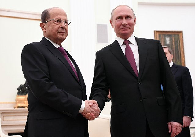 El presidente libanés, Michel Aoun, y el presidente de Rusia, Vladímir Putin