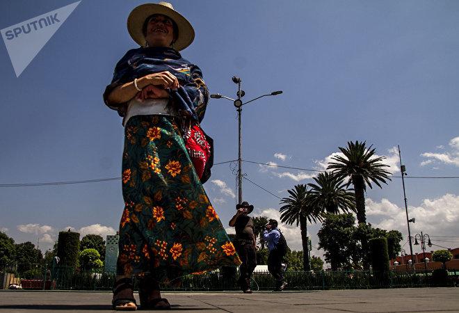 Mujer de San Mateo Xalpa durante la protesta frente a la alcaldía de Xochimilco.