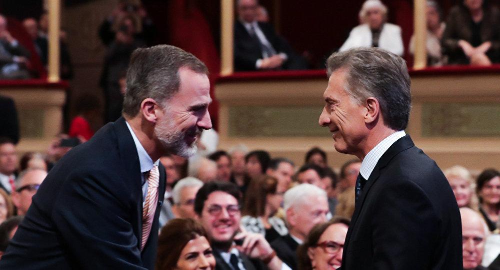 Felipe VI, rey de España y Mauricio Macri, presidente de Argentina, en la apertura del Congreso Internacional de la Lengua Española