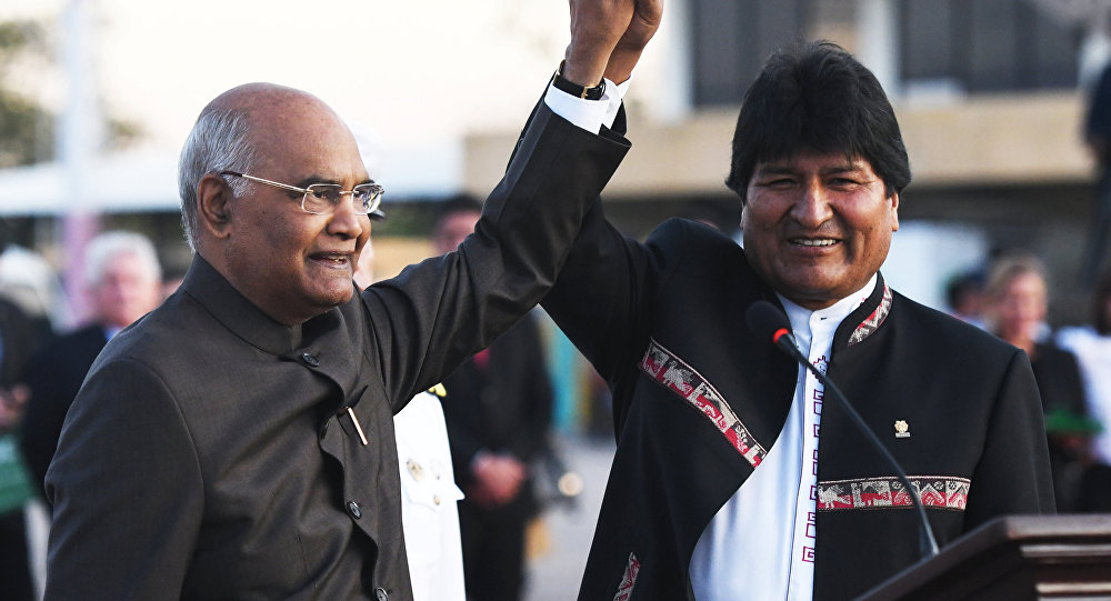 Ram Nath Kovind, presidente de India, y Evo Morales, presidente de Bolivia