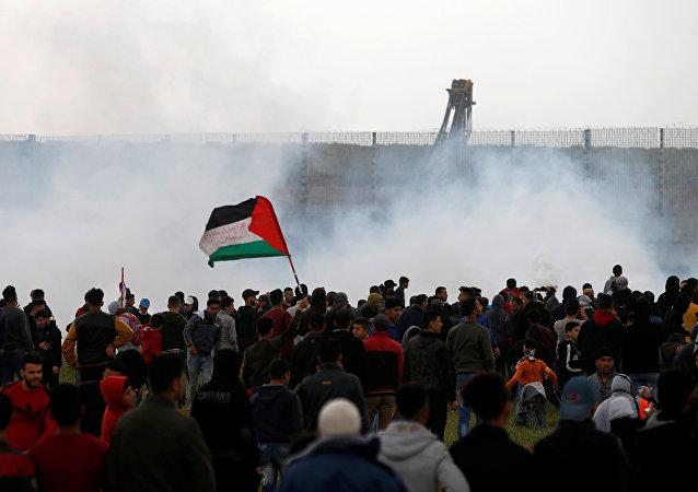 Las protestas en Gaza (archivo)