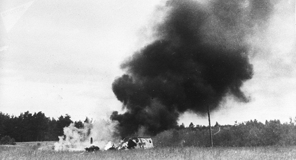 El derribo de un avión nazi Messerschmitt