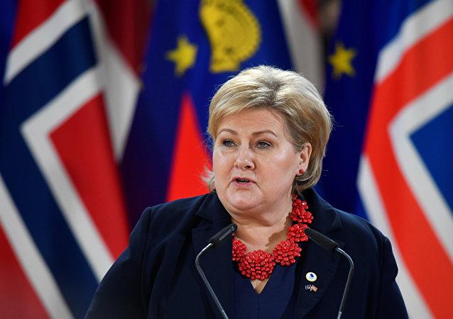 La primera ministra noruega Erna Solberg