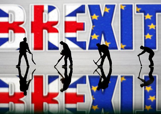Las banderas del Reino Unido y la Unión Europea en el Brexit