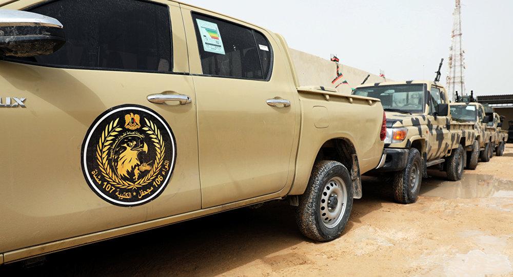 Vehículos capturados de las tropas del mariscal libio Jalifa Haftar