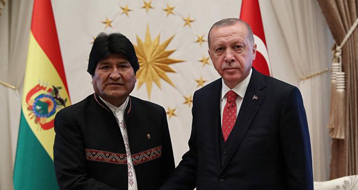 El presidente de Bolivia, Evo Morales y el presidente de Turquía, Recep Tayyip Erdogan