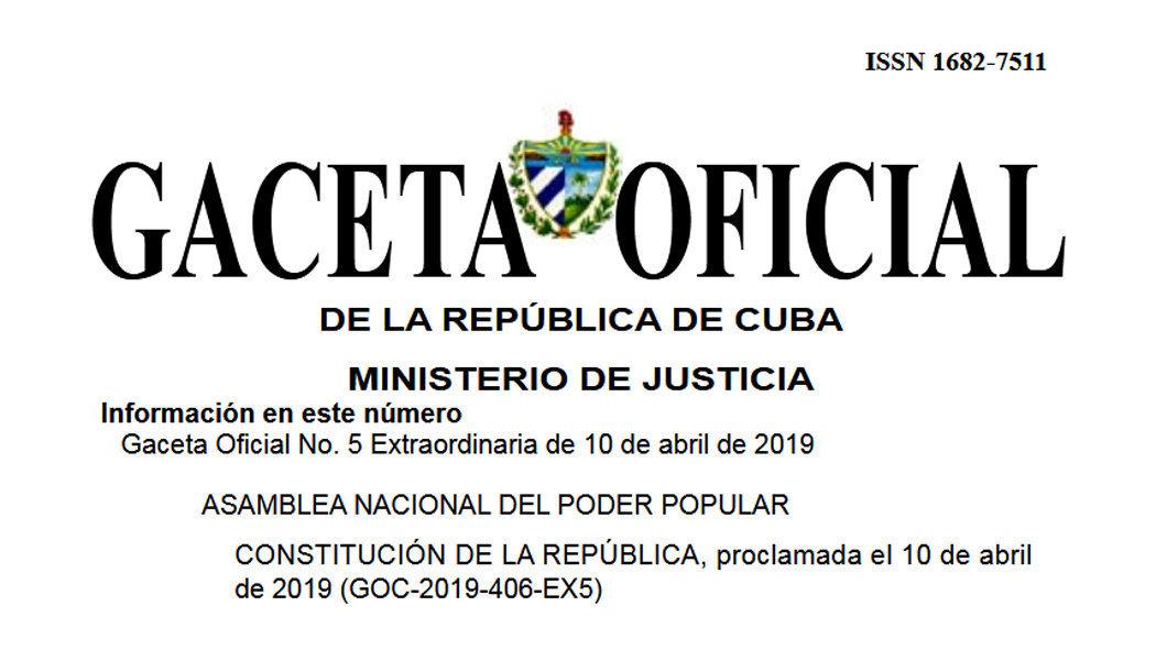 Portada de la Gaceta Oficial de Cuba