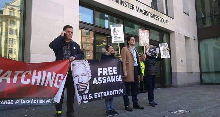 Situación cerca de la Corte de Magistrados de Westminster tras el arresto de Assange