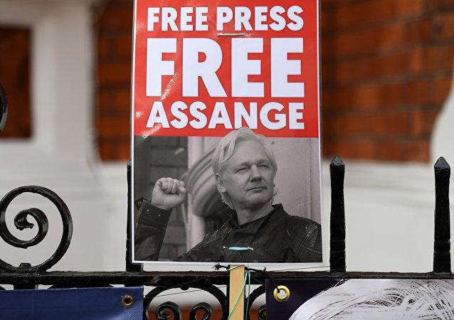 Activistas con la foto de Julian Assange piden su libertad