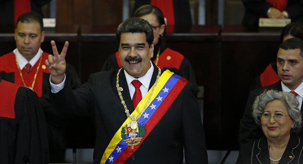 Nicolás Maduro cuando asume su segundo mandato presidencial (archivo)