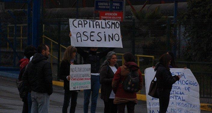 Manifestación en Ventanas, Valparaíso, Chile, contra las empresas contaminantes instaladas en el lugar