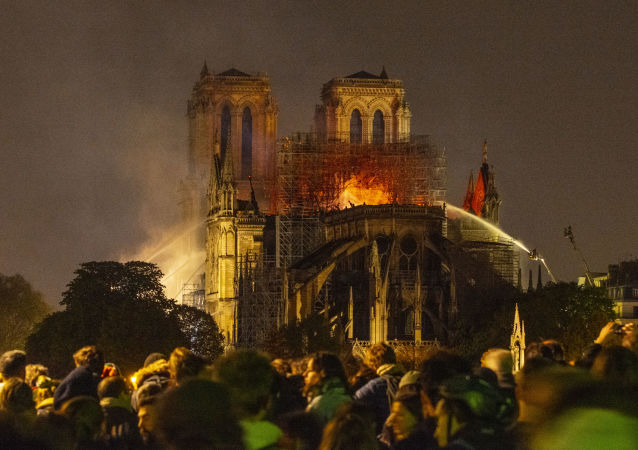 La catredral de Notre Dame en llamas
