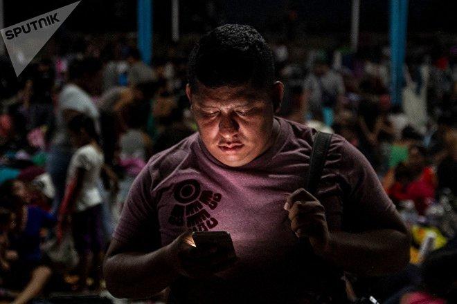 Ruben Figueroa en Huixtla, durante la estancia de la caravana migrante