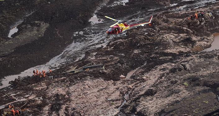 Destrozos provocados por la avalancha de lodo en Brumadinho en 2019 (foto de archivo)