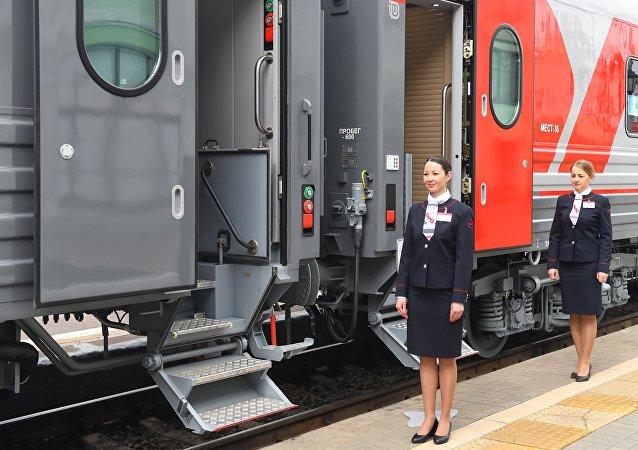 Los vagones de un tren ruso
