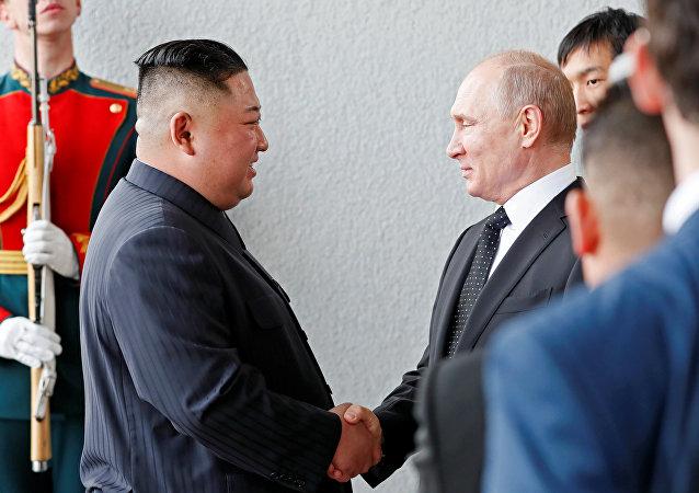 El líder de Corea del Norte, Kim Jong-un, y el presidente de Rusia, Vladímir Putin