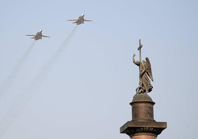 El ensayo del desfile del Día de la Victoria en San Petersburgo