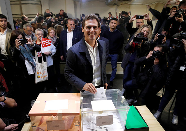 Albert Rivera, presidente de Ciudadanos, vota en Barcelona