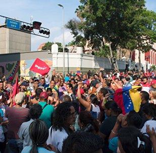 El oficialismo cerca del Palacio de Miraflores en Caracas