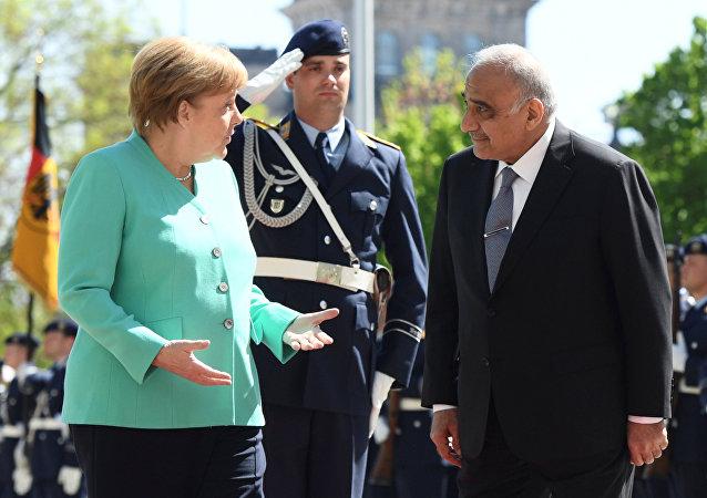 La canciller de Alemania, Angela Merkel, y el primer ministro de Irak, Adil Abdul Mahdi