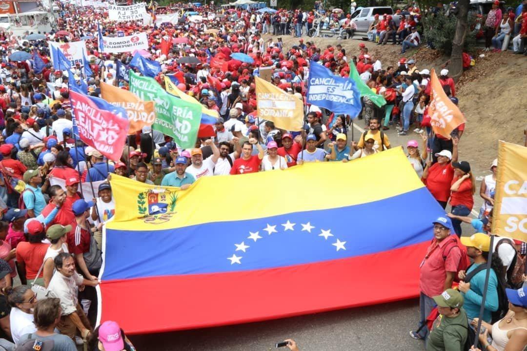 La marcha chavista en Caracas, Venezuela