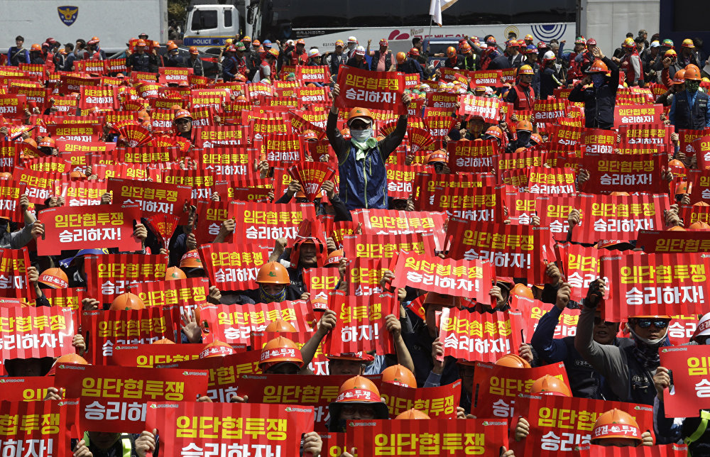 Trabajadores de Corea del Sur aprovecharon la oportunidad para demandar a las autoridades del país mejores condiciones de trabajo y la expansión de los derechos laborales