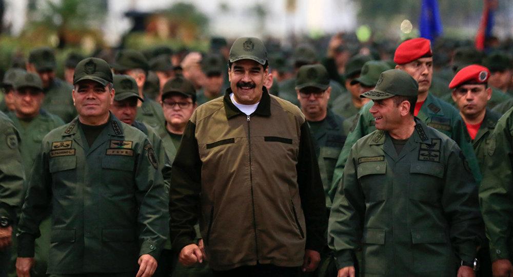 Nicolás Maduro, presidente de Venezuela durante la marcha militar en Caracas