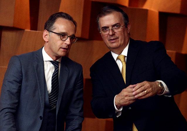 El ministro federal de Relaciones Exteriores de Alemania, Heiko Maas, y el canciller de México, Marcelo Ebrard