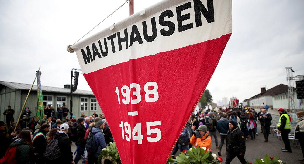 Un homenaje en el campo de concentración Mauthausen, Austria