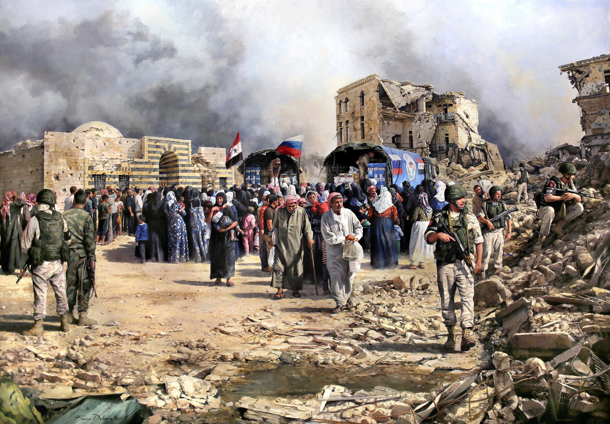 El cuadro del pintor Augusto Ferrer-Dalmau Nieto Alepo, la ayuda ha llegado
