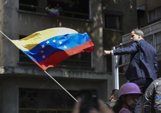 Juan Guaidó, líder opositor de Venezuela, en una manifestación a favor de él