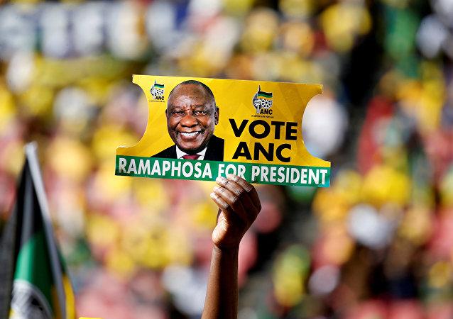 Un cartel de Congreso Nacional Africano