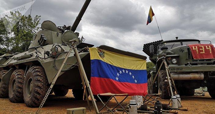 Los blindados en el campamento de la Academia Militar Bolivariana de Venezuela