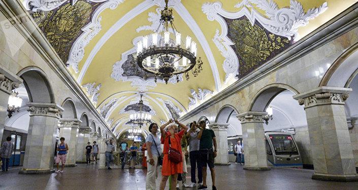 La estación de metro Komsomolskaya en Moscú
