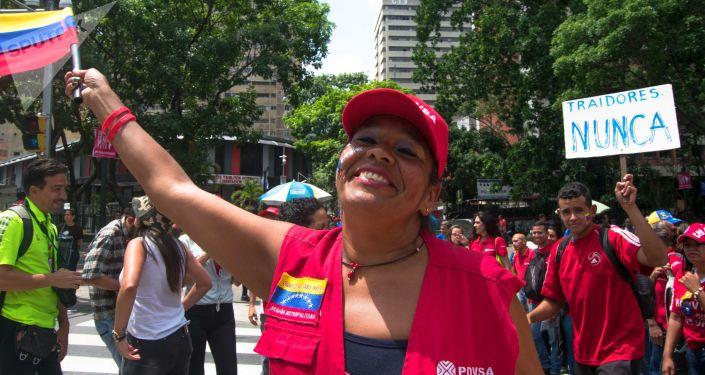 Movilización chavista en Caracas