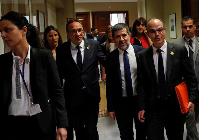 Presos independentistas Josep Rull, Jordi Sànchez and Jordi Turull