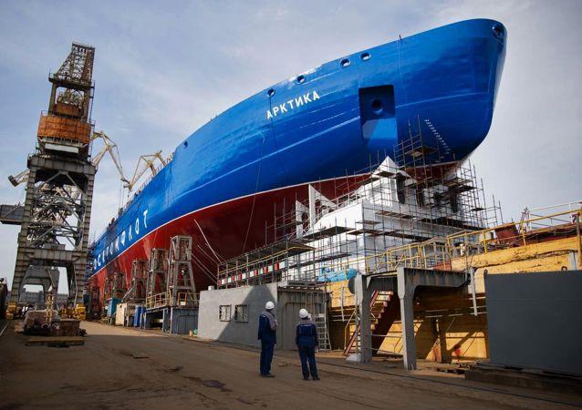 Rompehielos nuclear Árktika en San Petersburgo