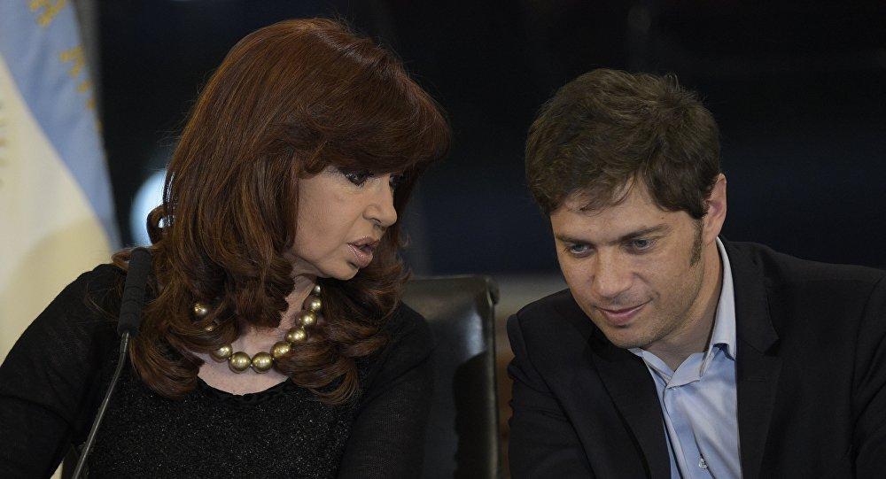 La expresidenta Cristina Kirchner junto a su exministro de Economía, Axel Kicillof