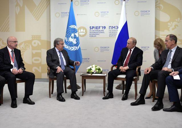 El secretario general de la ONU, António Guterres, presidente de Rusia, Vladímir Putin, y el canciller ruso, Serguéi Lavrov