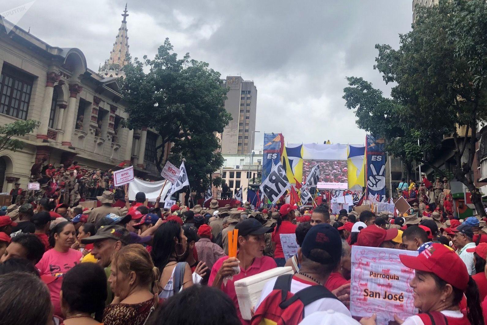 La marcha a favor de los CLAPs en Caracas, este 8 de junio: el diluvio se desplomó sobre los manifestantes