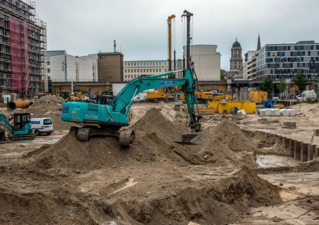 Obras en Berlín donde se encontró una bomba de la II Guerra Mundial