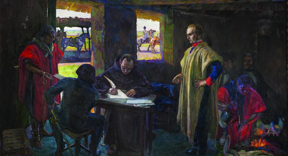 José Artigas dictándole a su secretario Jose Monterroso, pintura de Pedro Blanes Viale