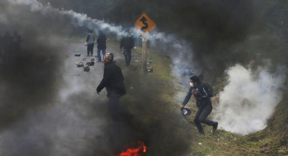 Bloqueo de la carretera por productores de coca en Bolivia