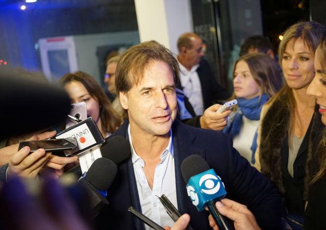 El candidato del Partido Nacional Luis Lacalle Pou luego de ganar las elecciones internas de su partido en Uruguay