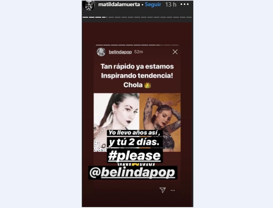 Screenshot de la publicación de Matilda en su cuenta de Instagram